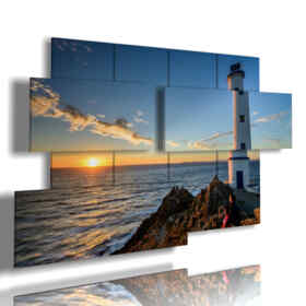 paintings sea beacon in the sunset