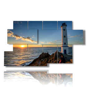 Modern paintings Lighthouse sea in the sunset