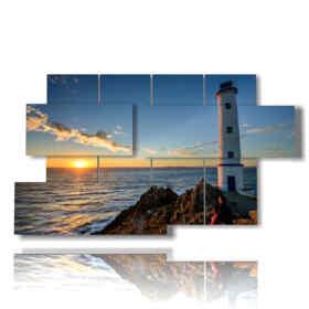 Tableaux modernes mer de phare dans le coucher du soleil