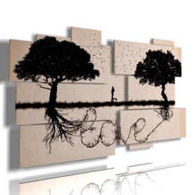 pittura quadri con scritta tra gli alberi