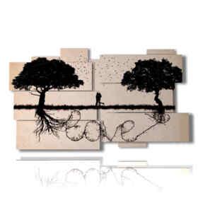 pintar cuadros con escrito entre los árboles