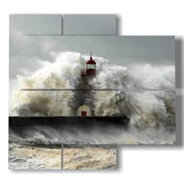 quadro faro nella tempesta del mare