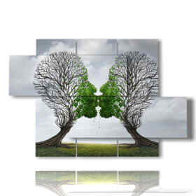 quadri di natura morta e alberi che si baciano
