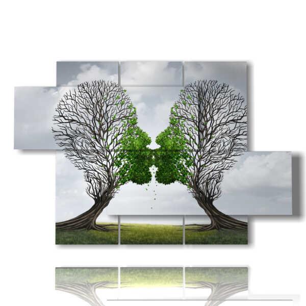 cuadros de la vida sigue y los árboles que se besan
