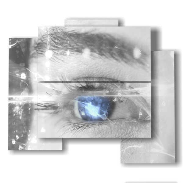 quadro di stampe astratte su tela occhio blu