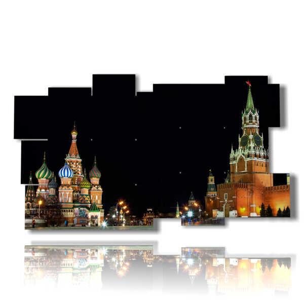 les photos de Moscou dans un tableaux de nuit
