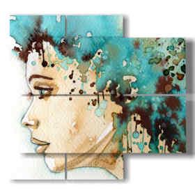 quadri di donne di profilo con pittura color acqua