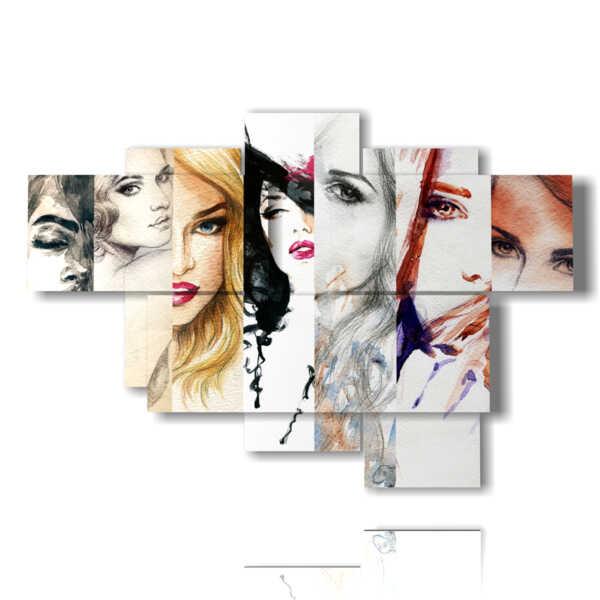 cuadros con mujeres representadas en varios perfiles