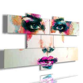 cuadros hermosas mujeres con toques de color