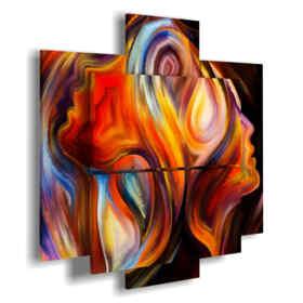 quadri di donne stilizzate in un turbine di colori