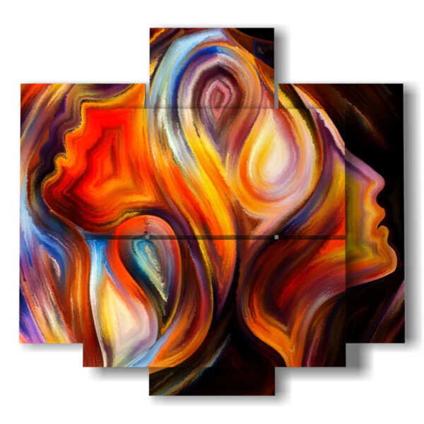 stylized paintings of women in a whirlwind of colors