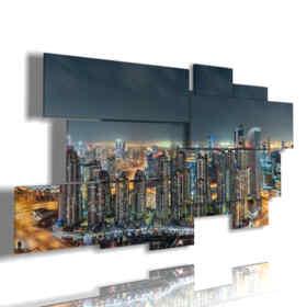 foto Dubai di notte quadro paronamico
