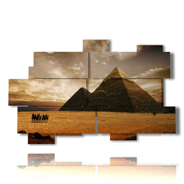 Egypt painting with vintage photos