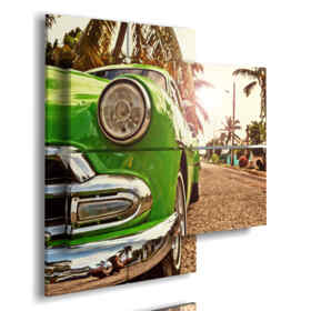 painting of cuba prints with typical green car