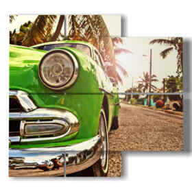 quadro di stampe di cuba con auto tipica verde