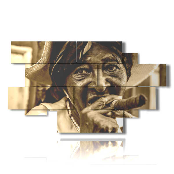 tableaux avec des photos de Cuba avec cigare