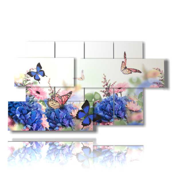 quadri di fiori con farfalle meravigliose tipologia 150704 - 07 pannelli -  157x90cm