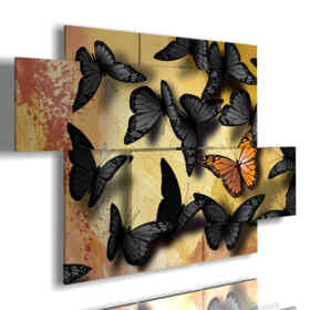 paintings with black and yellow butterflies