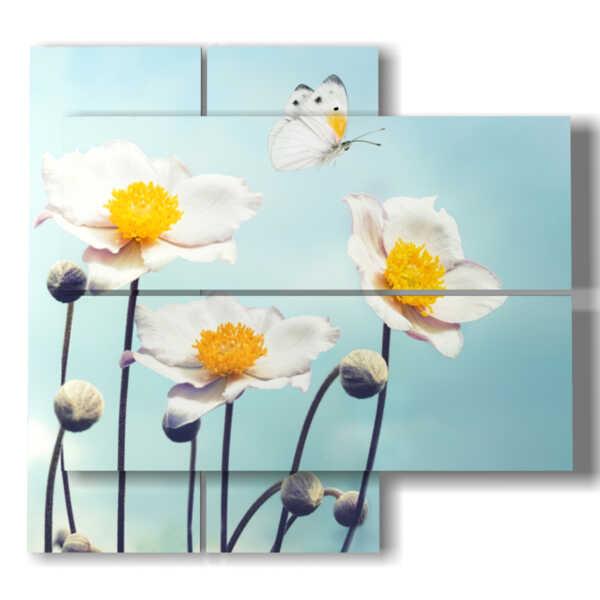 quadri con farfalle in rilievo su fiori bianchi tipologia 160405 - 04  pannelli - 91x85cm