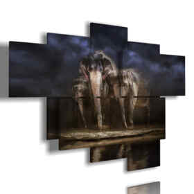 painting with abstract paintings elephants
