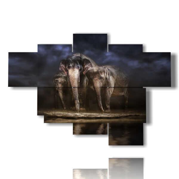 tableaux avec des tableaux abstraites éléphants