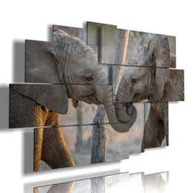 cuadro de los amantes de los elefantes pintados