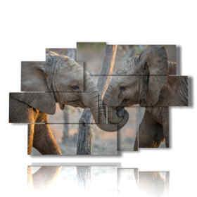 tableaux des amoureux des éléphants peints