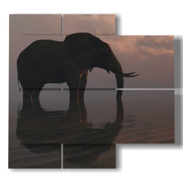 cuadro con imágenes de elefantes en el horizonte