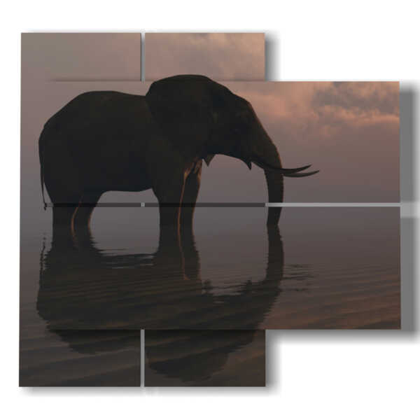 painting with pictures elephant on the horizon