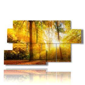 Tableau moderne avec des photos de feuille d'automne