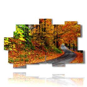 Tableau moderne avec des photos d'automne dans la rue
