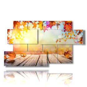 Tableau moderne avec des photos de montagne d'automne