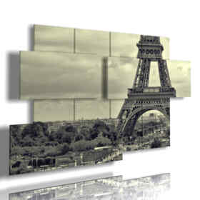 paintings Eiffel Tower in black and white