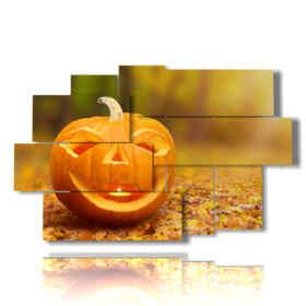 Tableau moderne avec des photos d'automne avec des citrouilles