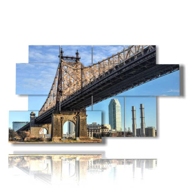 quadri su New York vista dal ponte di Brooklyn