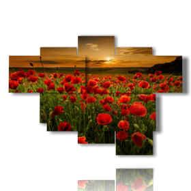 quadro campo di papaveri nel tramonto dell'amore