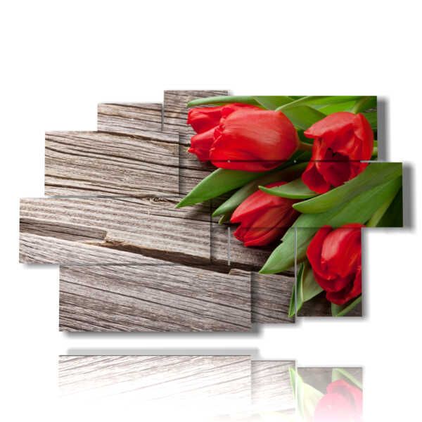 paintings flowers red tulips as a gift for you
