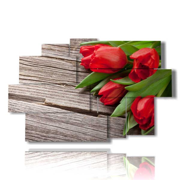 tableaux fleurs de tulipes rouges comme un cadeau pour vous