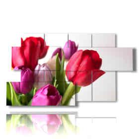 quadro moderno tulipani in un mazzo colorato