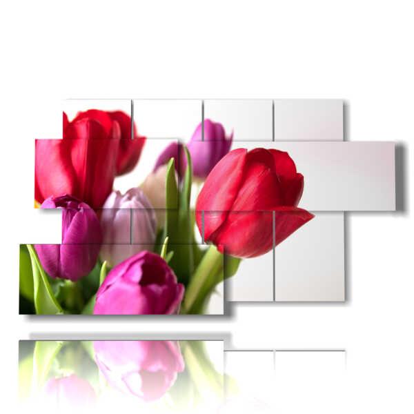 cuadro moderno tulipanes en un ramo colorido