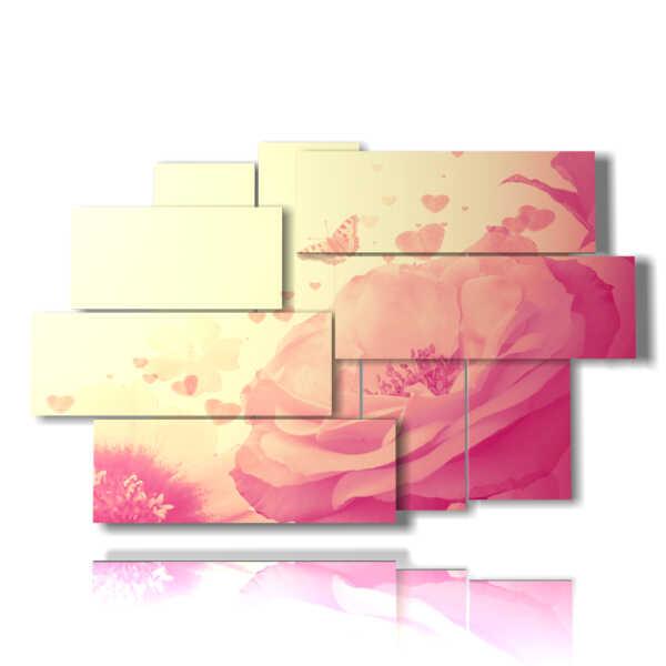 quadri di rose bianche in un'atmosfera rosa