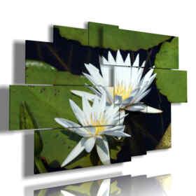 quadri con fiori bianchi adagiati in foglie verdi