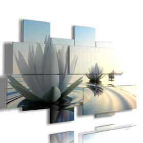 quadro con foto fiori belli nel tramonto e relax zen