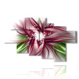 tableaux de fleurs colorées photo avec le coeur magique