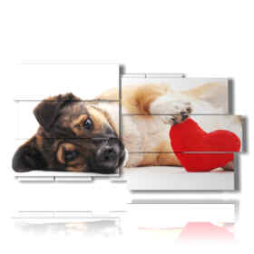 Modern picture with dog painting with heart