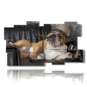 Dog in the modern picture with whiskey and cigar