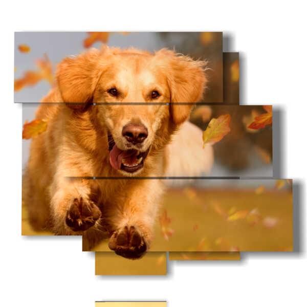 cuadro perro que se ejecuta en las hojas de otoño