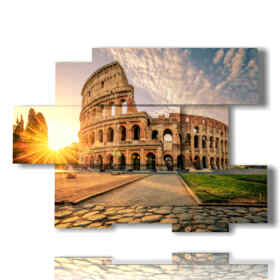 Modern paintings abstract Rome of Colosseum at sunset