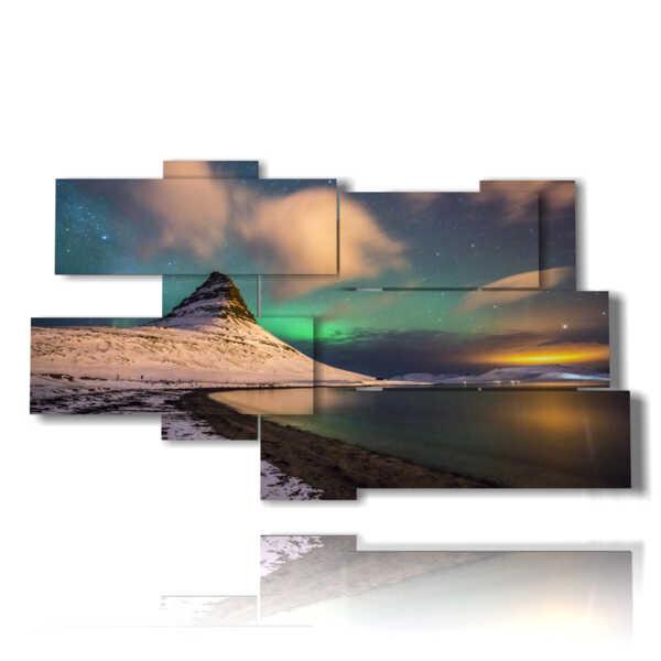 quadro di paesaggio con Aurora Boreale