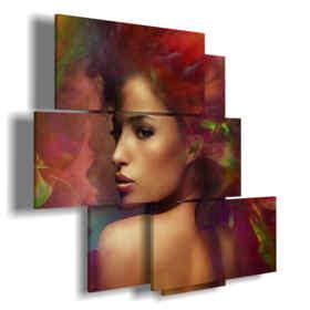 tableaux rouge moderne avec une belle femme